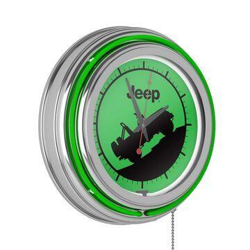 Jeep Neon Analog Wall Clock - Green Silhouette - 14.5 x 14.5 x 3