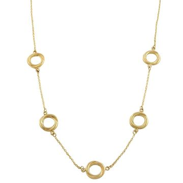 Fremada 10k Yellow Gold Twisted Ring Station Necklace (starion necklace)