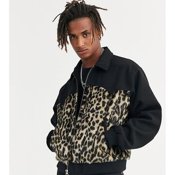 Heart & Dagger cut and sew animal faux fur jacket in black