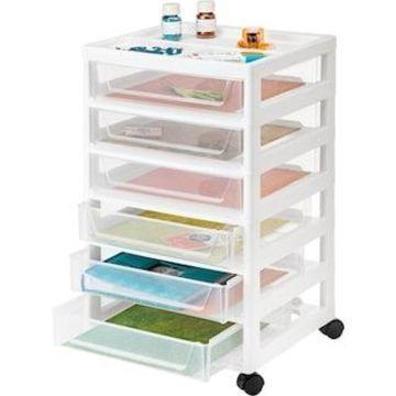 Iris White 6-Drawer Craft Storage System