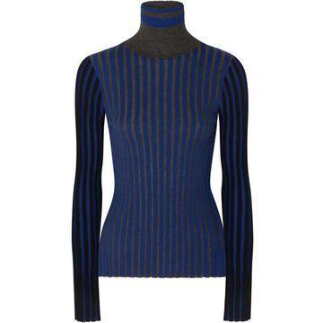 Sonia Rykiel - Striped Cashmere Turtleneck Sweater - Blue