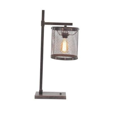 Decmode Industrial Iron Mesh Table Lamp, Brown