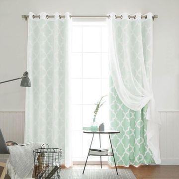 Aurora Home Mix & Match Muji Sheer Moroccan 4 Piece Curtain Panel Set - 52