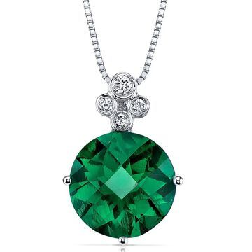 Oravo 14k White Gold Emerald and Diamond Pendant Round 3 carat