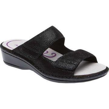 Aravon Women's Cambridge Slide Sandal Black Leather