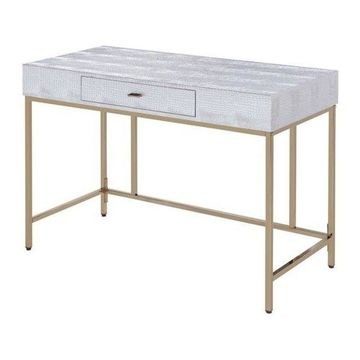 ACME Furniture Piety Desk in Champagne and Silver