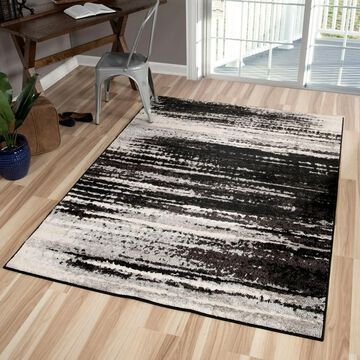 Orian Rugs American Heritage Black Shaded Lines Black (5' x 7' - Black)
