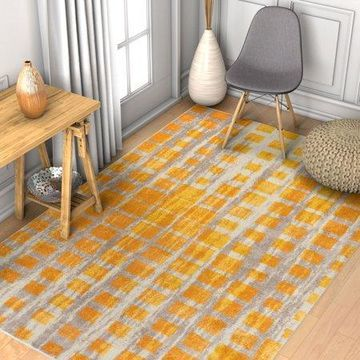 Well Woven Vettore Fortuna Yellow Modern Plaid Geometric Area Rug