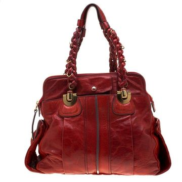 Chloe Red Leather Heloise Satchel