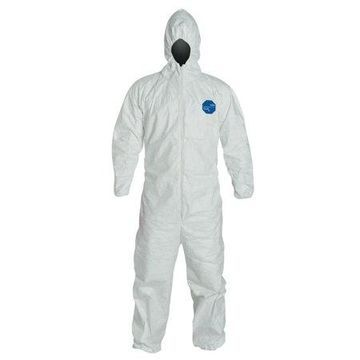 DuPont Tyvek Coveralls with Attached Hood, White, 5X-Large, With Hood