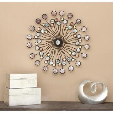 Modern 27 Inch Multicolored Iron Starburst Wall Decor by Studio 350