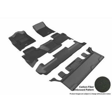 3D MAXpider 2015-2017 GMC Yukon Bucket Seating Front, Second, & Third Row Set All Weather Floor Liners in Black with Carbon Fiber Look