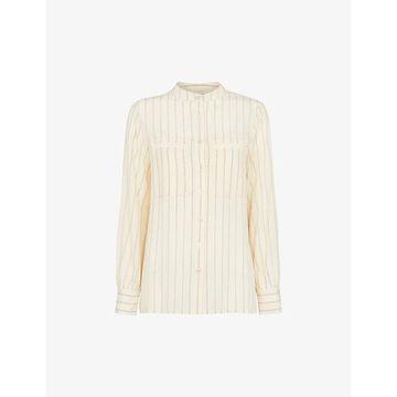 Whistles Womens Multi-coloured Oversized Stripe-print Silk Shirt 6