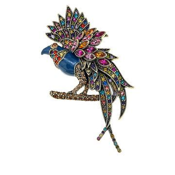 Heidi Daus Fantastic Feathers Crystal and Enamel Pin