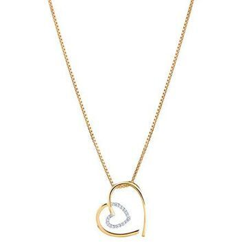 14K Yellow Gold Diamond Accent Modern Heart Pendant
