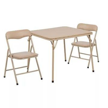 Flash Furniture 3-Piece Kids Folding Table And Chair Set In Tan