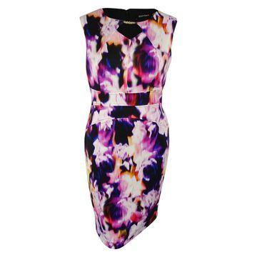 Ellen Tracy Women's Front Keyhole Dress - Pink/Multi