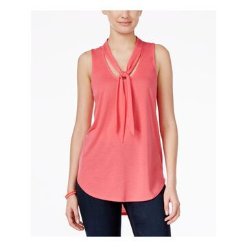 ALMOST FAMOUS Womens Pink Tie Sleeveless Scoop Neck Top Juniors Size: S
