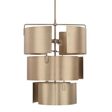 Wells 5-light Aged Brass Foyer Fixture - Aged Brass