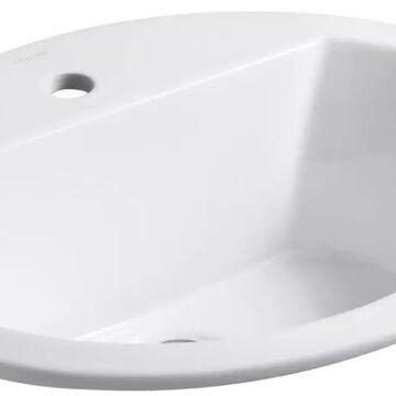 KOHLER Bryant White Drop-In Oval Bathroom Sink with Overflow Drain (20.125-in x 16.5-in)   2699-1-0