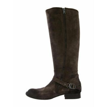 Zip Up Boot Suede Riding Boots Brown