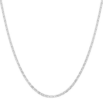 14K White Gold 18 Inch Flat Link Chain by Beverly Hills Charm