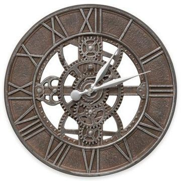 Whitehall Products 21-Inch Gear Indoor/Outdoor Wall Clock in Weathered Iron