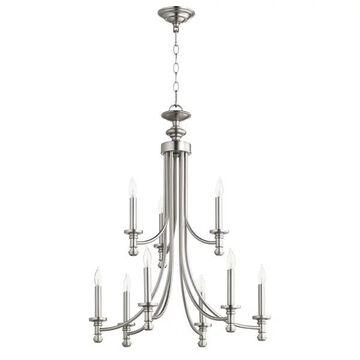 Quorum International Rossington 9 Light Chandelier, Satin Nickel