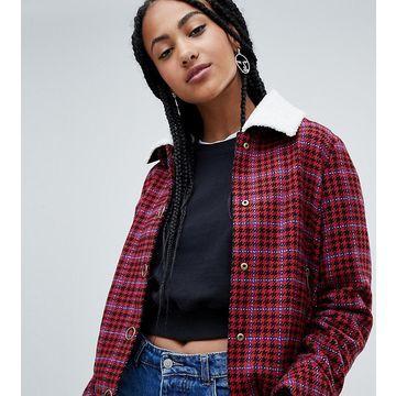 Esprit Checked Jacket With Fleece Collar