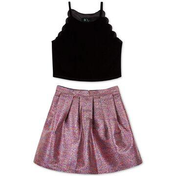 Big Girls 2-Pc. Velvet Top & Metallic Skirt Set