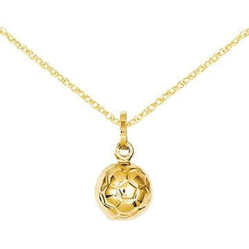 14K Yellow Gold 3-D Soccer Ball Charm with 18-inch Cable Rope Chain by Versil (18 Inch - Yellow)