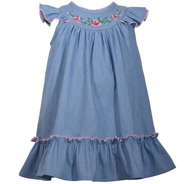 Toddler Girl Bonnie Jean Embroidered Chambray Dress