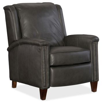 Hooker Furniture Charcoal Grey Leather Kelly Recliner