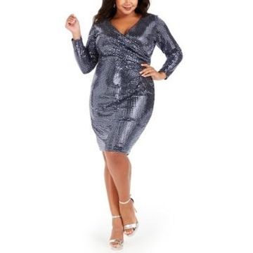 Betsy & Adam Plus Size Sequin Wrap Dress