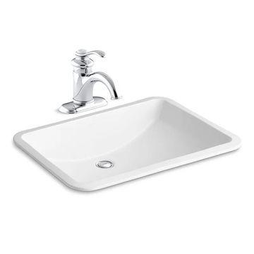 "Kohler K-12182/K-2214 Ladena 18-3/8"" Undermount Bathroom Sink with Overflow and Fairfax Single Hole Bathroom Faucet with Pop-Up Drain Assembly"