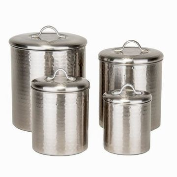Old Dutch 4-pc. Hammered Brushed Nickel Kitchen Canister Set
