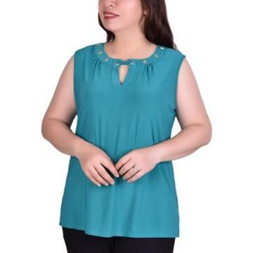 Ny Collection Women's Plus Size Sleeveless Grommeted Top