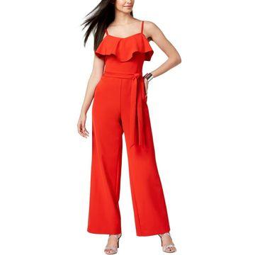 Thalia Sodi Womens Ruffled Popover Jumpsuit