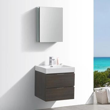 Fresca Senza 24-in Gray Oak Single Sink Bathroom Vanity with White Acrylic Top (Faucet Included) | FVN8324GO