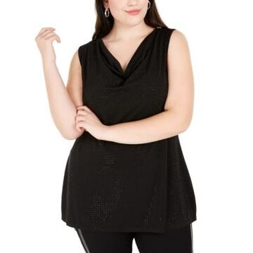 Belldini Plus Size Embellished Cowlneck Top