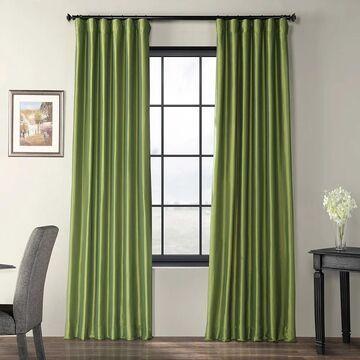 Exclusive Fabrics Fern Green Solid Faux Silk Taffeta Curtain Panel (50 x 120 - Green)