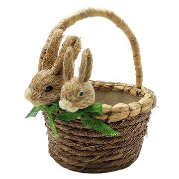 Double Rabbit & Green Bow Basket by Celebrate It