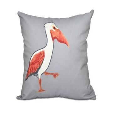 Pelican March 16 Inch Gray and Orange Decorative Coastal Throw Pillow