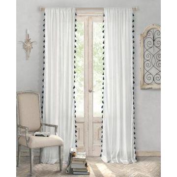 Elrene Bianca Semi-Sheer Window Curtain with Tassels