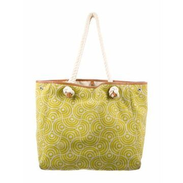 Printed Leather-Trimmed Rope Tote Green