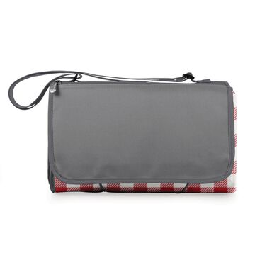 Picnic Time Red and White Gingham Pattern with Gray Flap Polyester Blanket Tote | 920-00-300-000-0