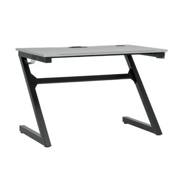 Offex Gaming Zone PC Gamer Computer Desk with Charging Station and Headphone Hook - Black Metal Legs/Racing Silver Top