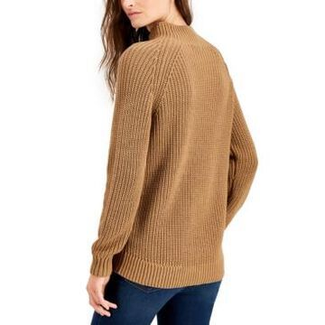 Style & Co Petite Cotton Funnel-Neck Sweater, Created for Macy's