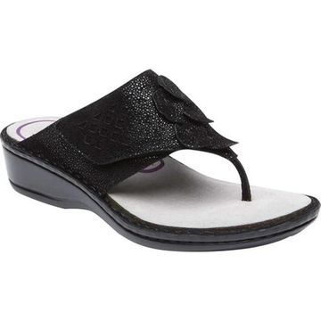 Aravon Women's Cambridge Thong Sandal Black Leather