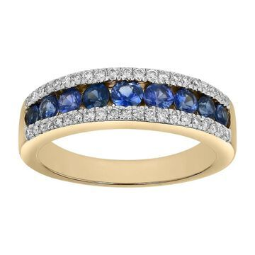 14k Yellow Gold 7/8ct Diamonds and Blue SapphireS Channel Band Ring